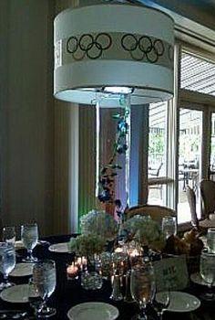 Custom Olympics theme lampshade centerpiece
