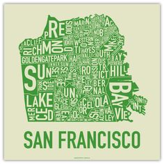 San Francisco neighborhood map from Ork Posters