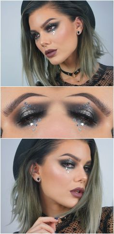 charcoal smokey eye w/ glitter tears (stars) @lindahallbergs #makeup