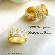 Love Choupette様考案 【モロッカンリング】 生徒様スキルアップ作品。 常にキット入荷待ちの大人気のリングレッスン 私も愛用しています  #グルーデコ®  #グルーデコ  #リング  #モロッカン  #習い事  #スワロフスキー