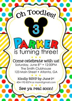 Mickey Mouse Clubhouse Birthday Party Invitation by PeachyGraphics