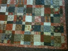 queen size brown and orange quilt by 4quiltsandmore on Etsy, $199.00