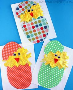 Make hatching puffy paint chicks using shaving cream and elmers glue! It's a fun easter craft for kids to make.