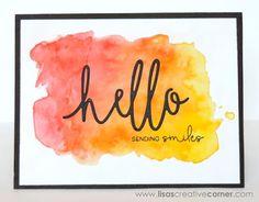 "Lisa's Creative Corner: Watercolor and Thin Cuts ""Hello"" Card"