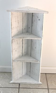Reclaimed Wood Corner Shelf In Icing