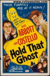 Hold That Ghost Original Vintage Movie Poster One Sheet Starring Bud Abbott & Lou Costello