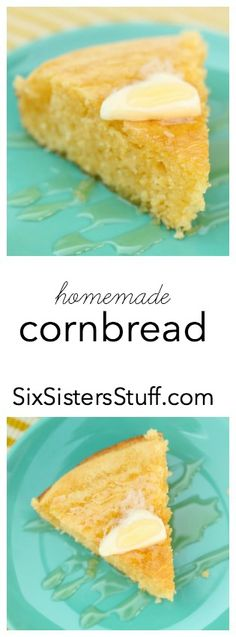 Easy and delicious homemade cornbread from SixSistersStuff.com!