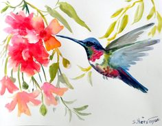 Hey, I found this really awesome Etsy listing at https://www.etsy.com/listing/130778697/hummingird-original-watercolor-painting