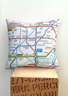 London Tube Map Pillow Decorative Pillow Modern Pillow Decorative Cushion