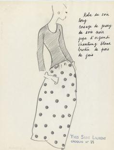 Yves Saint Laurent haute couture printemps / été 1962. Document Musée Yves Saint Laurent.
