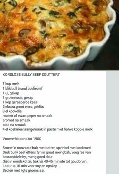 South African Dishes, South African Recipes, Quiche Recipes, Tart Recipes, Braai Recipes, Cooking Recipes, Quiches, Light Recipes, Clean Recipes