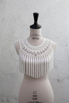 Aegean Drawn: Crochet collar / tshirt upcycle... on top of a white tanktop