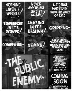 THE PUBLIC ENEMY (1931)   An early Warner Bros. trailer with 'typographic narration'