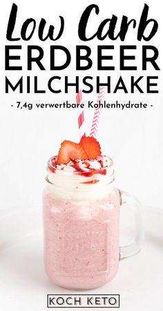 Low Carb Dessert, Mason Jars, Snacks, Mugs, Tableware, Milkshake Recipes, Raspberry Ice Cream, Frozen Strawberries, Appetizers