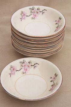 apple blossom vintage Homer Laughlin eggshell nautilus china fruit bowls & vintage Homer Laughlin eggshell Nautilus china dinner plates ...