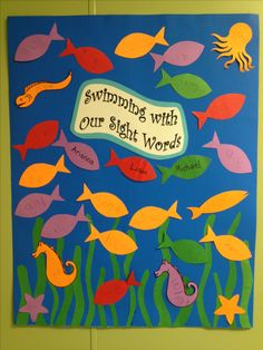 Sight word/ High frequency word bulletin board. Summer board, fish bulletin board. Ocean