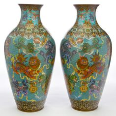 A PAIR OF MONUMENTAL CHINESE CLOISONNÉ PALACE VASES  Maker unknown, Chinese, Qing dynasty