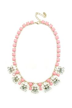This pretty pink pastel necklace makes the ultimate statement. The necklace is approximately 16 inches long with a 3 inch extension and a vintage feel.