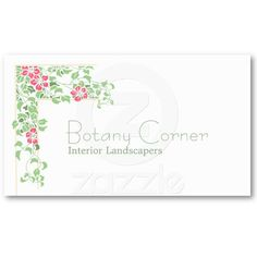 Art nouveau clematis business cards ~   A corner design of cerise pink clematis flowers and green leaves with two pale orange border lines, in an art nouveau style, redrawn from a vintage postcard. The text is in a matching green in a typeface with the feel of the era.