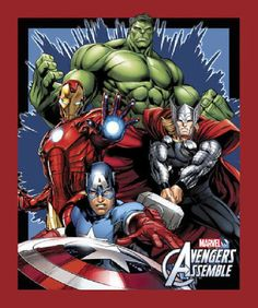 Marvel Avengers Assemble Cotton Print Quilting Fabric Panel Springs 52975