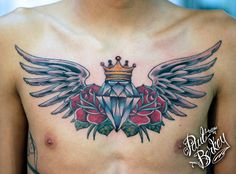 Image result for wings tattoo chest woman diamond