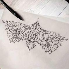 Roses. Leaves. Sternum. Nature. Tattoo. Sketch. Flowers. Vines.