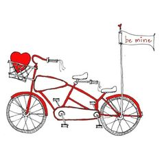 a bicycle built for two. tandem bike valentine's day card