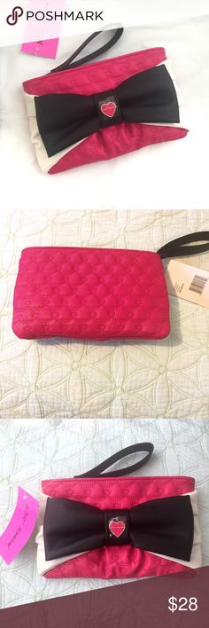Betsey Johnson Large Bow Wristlet Fushia NWT Betsey Johnson Fuchsia Wristlet Large Bow 💟No defects/Flaws  💟Tags still attached to Wristlet  💟Come from a Pet friendly /Smoke Free home  💟Measurements are shown on pictures 💟I can provide additional pictures if requested :) Betsey Johnson Bags Clutches & Wristlets