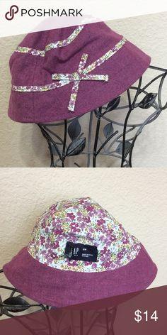 07a5b84f633a7 Nwt Gap Kids Girls size L XL Green   Purple Floral Hat cap Summer ...
