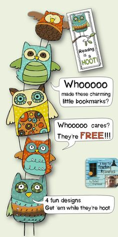**FREE** Charming Little Owl Bookmarks. 4 fun designs.