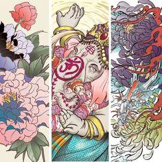 Japanese Tattoo Irezumi Full back Hindu God Ganesh Chrysanthemum Ryu Dragon Peony Flower Chrysanthemum digital sketch Illustration   www.mudohori.com www.instagram.com/mudohori