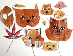 DIY Painted Leaf Animals ⋆ Handmade Charlotte - Use Black & White Markers Easy Fall Crafts, Fall Crafts For Kids, Projects For Kids, Diy For Kids, Fun Crafts, Arts And Crafts, Fall Diy, Autumn Diys, Paper Crafts