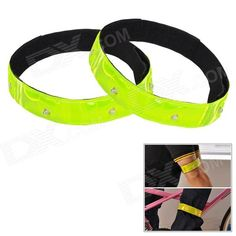 FLY WOLF KNIGHT TQ-403 Reflective Arm / Pants Leg Band w/ LED Light for Cycling - Green   Black Price: $5.50