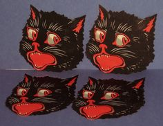 4 SCARCE PRE 1920'S GERMAN- MADE IN SAXONY- GREAT LOOKING CAT STICKERS