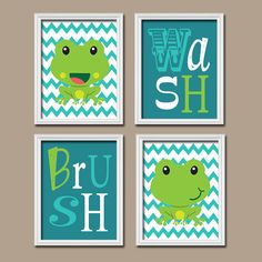 FROG Child Bathroom Wall Art CANVAS Or Prints Girl By TRMdesign