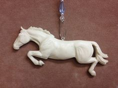 NEW MOLD Original Sculpture Resin Jumping Horse Christmas Ornament painted to look like Brisco :)
