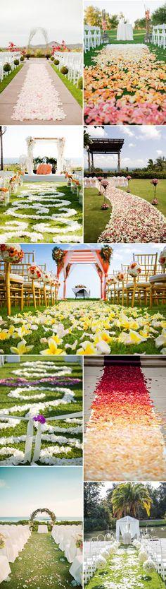 petals wedding aisle runners for romantic outdoor wedding ideas