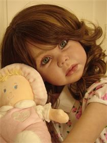 "Linda doll Reborn by Ruth Aguilar, Le Ruban Rose Nursery Sculpted by Gerlinde Feser 46"" ball jointed, full vinyl body."
