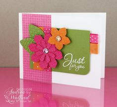 Just for You Card - melon mambo, pumpkin pie, old olive - warm, cheery color combination