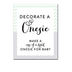 Baby Shower Activity - Mint Green Gray Chevron Decorate a Onesie - Instant Download Printable