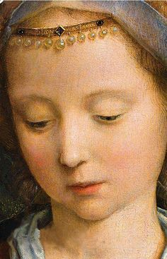 Gerard David, The Virgin Among the Virgins 1509 detail Madonna, Italian Renaissance, Renaissance Art, Gerard David, Renaissance Paintings, Classic Paintings, Circlet, Medieval Art, Sacred Art