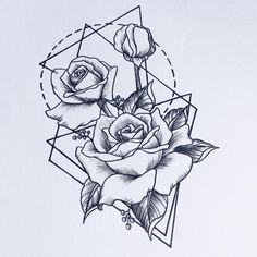 geometric lines with roses - by Darja   #geometry #geometrie #rose #lines…