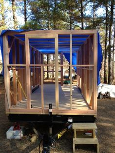 Framing is a really exciting time in your building process. When you tip that wall up for the first time the change is dramatic, the next wall goes up, then the rest and before you know it your ho… Small Tiny House, Modern Tiny House, Tiny House Cabin, Tiny Houses, Tiny House Trailer Plans, Tiny House Plans, Building A Tiny House, Metal Building Homes, Home Design