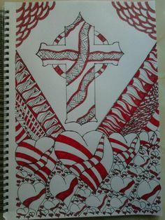 Zentangle cross and hearts