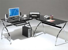 Modern L-Shaped Black Desk with Glass and Chrome