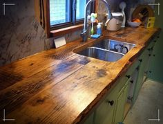 Supreme Kitchen Remodeling Choosing Your New Kitchen Countertops Ideas. Mind Blowing Kitchen Remodeling Choosing Your New Kitchen Countertops Ideas. Wooden Countertops, Outdoor Kitchen Countertops, Rustic Kitchen Cabinets, Rustic Kitchen Design, Farmhouse Sink Kitchen, Kitchen Redo, Farmhouse Style, Rustic Design, Kitchen Ideas