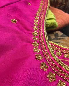 For my simple bride. ❤️ . . #bride #bridalwear #chennaibride #bridesofindia #bridesofinstagram #bridalaffair #indianbride #indianwedding #blouse #weddingoutfit #indianweddingoutfit #weddingblouse #embroidery #blouseembroidery #embroideryblouse #handmade #pink #sareeblouse #kanchivaram #chennaitailor #southindianbride #chennai #talesofthayal #pellikuthuru #kalyanam #traditionalwedding #brideswag Hand Embroidery, Embroidery Designs, Indian Fashion, Women's Fashion, Aari Work Blouse, Pattu Saree Blouse Designs, Simple Blouse Designs, South Indian Bride, Hand Designs