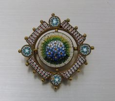 Victorian Micro Mosaic Flowers Brooch