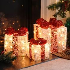 These Pre-Lit Silver Glitz Gifts are sure to add a warm glow to any room. #kirklands #holidaydecor #KirklandsHoliday