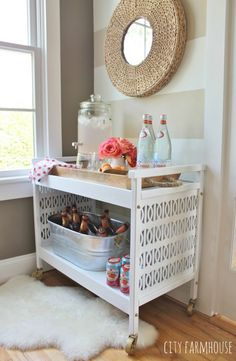 Make round mirror with rope Rustic Glam Mid Century Modern TV Cart Makeover-Spray Painted Hardware & Casters Gold Furniture Makeover, Diy Furniture, Tv Cart, City Farmhouse, Ikea, Bar Cart Decor, Diy Casa, Cool Bars, My New Room